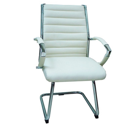 כסא מרופד לחדרי אירוח ומשרדים בריפוד דמוי עור ורגלי ניקל  - תמונה 3