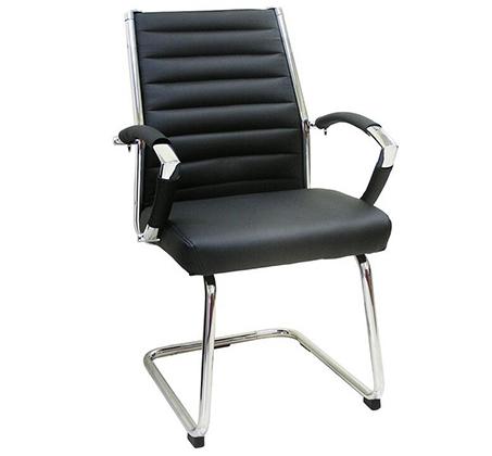 כיסא אורח בריפוד דמוי עור בשילוב ניקל דגם שי