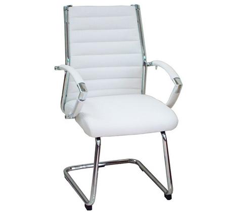 כסא מרופד לחדרי אירוח ומשרדים בריפוד דמוי עור ורגלי ניקל  - תמונה 2