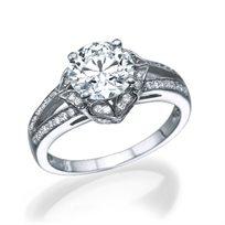 """טבעת אירוסין זהב לבן """"גבריאלה"""" בעיצוב וינטאג'"""