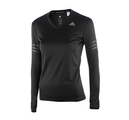 חולצת ריצה ארוכה לנשים - שחור