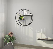 יחידת מידוף עגולה לקיר במראה מודרני גיאומטרי בצבע שחור דגם קפרי לאחסון ועיצוב RAZCO
