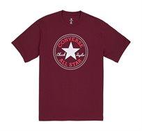 חולצת טי שירט צווארון עגול עם לוגו במרכז Converse Chuck Patch לגברים בצבע בורדו