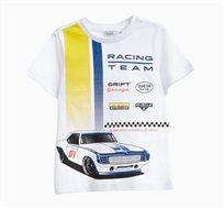 חולצה טי קצרה לילדים בצבע לבן עם הדפס מכונית