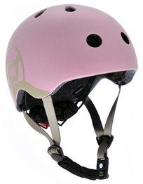 קסדה בטיחותית עם מנגנון התאמה לראש, תאורת Led אחורית וסוגר מגנטי - ורוד