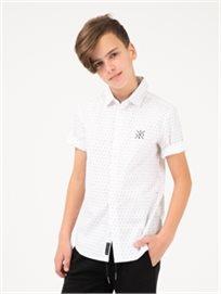 חולצה מכופתרת עם טקסטורת נקודות