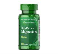"""מגנזיום 500 מ""""ג תוצרת Puritan's Pride ארה""""ב - 100 קפליות - משלוח חינם"""