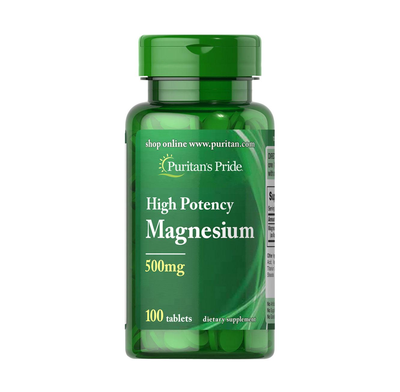 """מגנזיום 500 מ""""ג תוצרת Puritan's Pride ארה""""ב - 100 קפליות"""