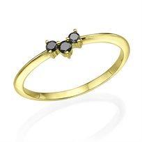 טבעת שלושה יהלומים שחורים 0.10 קראט