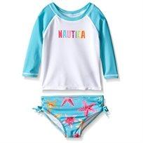 NAUTICA / נאוטיקה (8-10 שנים) בגד ים לבן שרוול טורקיז