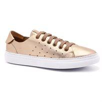 Darkwood - נעלי סניקרס עור מטאליות לנשים בצבע זהב