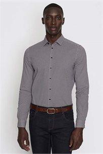 חולצה מכופתרת מודפסת EXTRA SLIM לגבר DEVRED - לבן/בורדו/כחול כהה