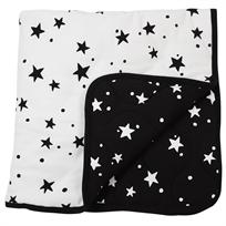 שמיכה קטנה עם מילוי 80*80, שחור לבן כוכבים - מיננה