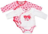 זוג בגדי גוף לתינוק כותנה טריקו 0-3 חודשים - ורוד