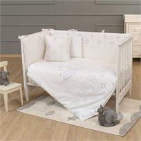 סט מצעי פרימיום 3 חלקים למיטת תינוק 100% כותנה - לונה שיק לבן
