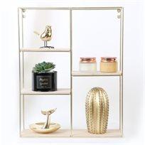 מדף מתכת צבע זהב משולב עץ טבעי