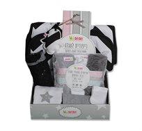 סט מתנה ליולדת הכולל ריפודית לעגלה, סל רשת לעגלה, שלישיית חיתולי טטרה, גרביים, בגד גוף מיננה