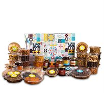 מארז כליל החורש הכולל מבחר פירות יבשים ואגוזים, קונפיטורה וסילאן מור ולבונה מור ולבונה