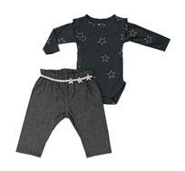 סט בגד גוף עם מכנסיים לתינוקות - אפור כהה
