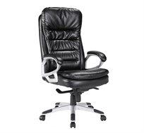 כסא מנהלים אורתופדי דגם ונוס בעל ידיות מרופדות ומשענת ראש ובוכנה לכיוונון הגובה והמושב עשוי PU שחור