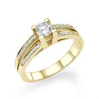 """טבעת אירוסין זהב צהוב  """"אלינור"""" 0.60 קראט! בשיבוץ יהלומים"""