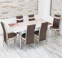 פינת אוכל פרחונית נפתחת מזכוכית כולל 4 כסאות