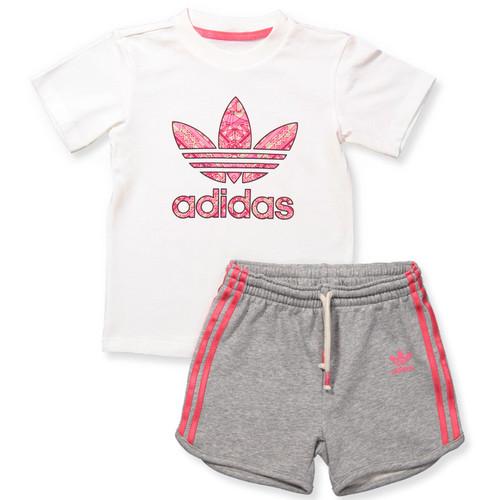 חליפת Adidas לילדות (מידות 3 חודשים -4 שנים) - אפור לבן