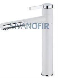 ברז פרח גבוה מסתובב לכיור מונח לבן משולב ניקל 5403W