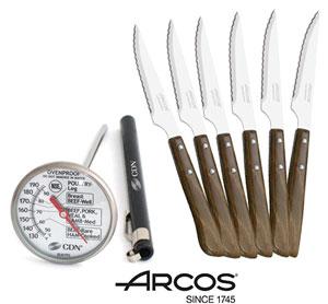סט 6 סכיני סטייק ידית משולבת סיבי עץ מבית ARCOS + מד חום לבשר