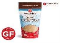סוכר קוקוס אורגני טהור נטול גלוטן וכשר מבית Madhava! בכל שקית 454 גרם סוכר.
