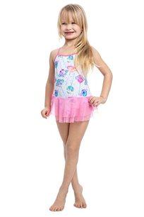 בגד-ים שלם קוסמי עם חצאית לילדות Pilpel בצבע לבן