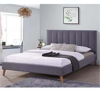 מיטת נוער מרופדת ורגלי עץ מלא דגם LIMA