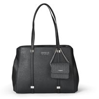 GUESS נשים // NASH LARGE SATCHEL BLACK