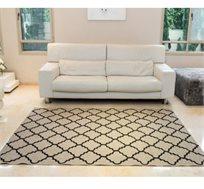 שטיח סלון בדוגמת מעוינים דגם קוטג' בצבע קרם גדלים לבחירה
