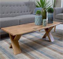 שולחן קפה לסלון דגם ביסו ביתילי עם פלטת עץ אלון מבוקע טבעי  ורגלי איקס מעץ מלא