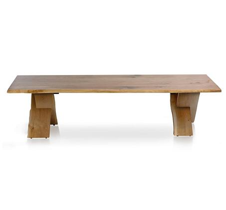 שולחן קפה לסלון דגם ביסו ביתילי עם פלטת עץ אלון מבוקע טבעי  ורגלי איקס מעץ מלא  - תמונה 2