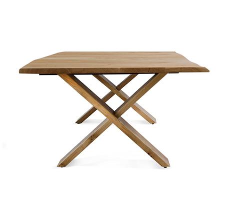 שולחן קפה לסלון דגם ביסו ביתילי עם פלטת עץ אלון מבוקע טבעי  ורגלי איקס מעץ מלא  - תמונה 3