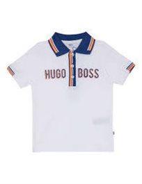 BOSS חולצה פולו(3 חודשים-3 שנים) - לבן כיתוב באמצע