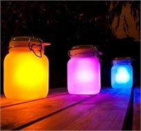 s-jar תאורה סולארית מזכוכית מחליפה צבעים בצורת צנצנת, ללא צורך בחשמל - משלוח חינם