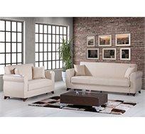 מערכת ישיבה לסלון נפתחת למיטה 3+2 עם ארגז מצעים וזוג כריות נוי מתנה דגם דאלאס LEONARDO