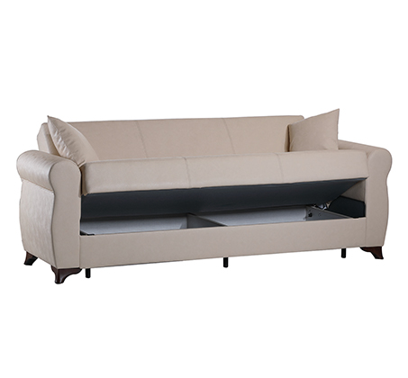 מערכת ישיבה לסלון נפתחת למיטה 3+2 עם ארגז מצעים וזוג כריות נוי מתנה דגם דאלאס LEONARDO - תמונה 6