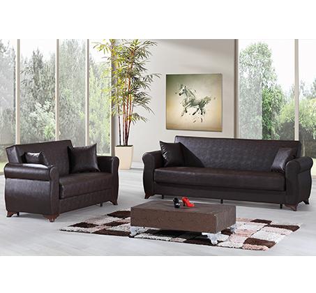 מערכת ישיבה לסלון נפתחת למיטה 3+2 עם ארגז מצעים וזוג כריות נוי מתנה דגם דאלאס LEONARDO - תמונה 3