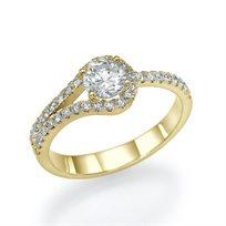 """טבעת אירוסין זהב צהוב """"אנה"""" 0.76 קראט"""