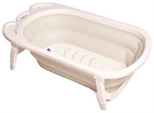 אמבטיה מתקפלת לתינוק עם רגלים מתקפלות ומונע החלקה - לבן/אפור
