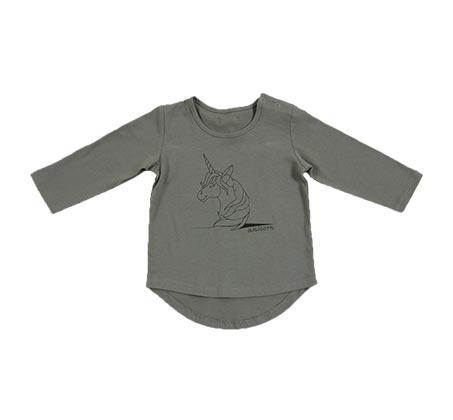 חולצת בייסיק מאויירת לפעוטות - ירוק זית