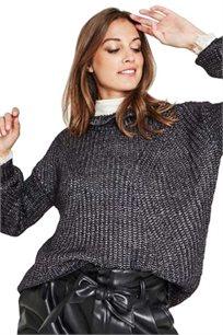 סוודר בעיטור תחרה לאישה בצבע כחול נייבי