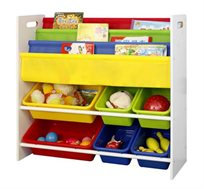 ארגונית צעצועים וספרים לילדים עם קופסאות פלסטיק צבעוניות