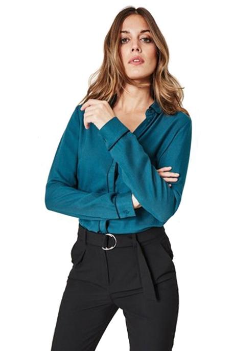 חולצה מכופתרת אלגנטית PROMOD לנשים - ירוק בקבוק