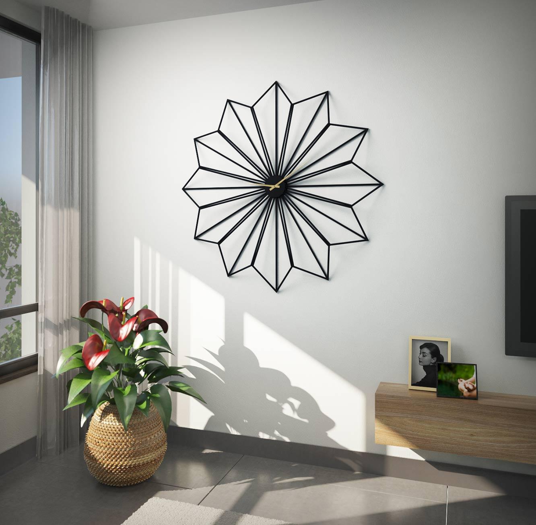 שעון קיר ענק בעיצוב יוקרתי בצבעי שחור משולב מחוגי זהב דגם ליבורנו RAZCO - משלוח חינם - תמונה 3