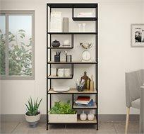ספרייה בעיצוב מודרני המשלבת מתכת ומדפים במראה עץ דגם טוסקנה
